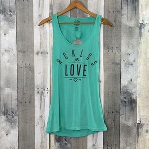 Young and reckless open back tank top medium